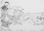 "Harrold, John (born 1947): The ""Follow Rupert"" page from ""Rupert Annual"" 2002 No 67, signed, ink drawing, 19 x 24.6 cms. Rupert Bear courtesy of Classic Media Distribution Limited."
