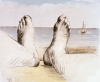 Moore, Henry OM CH (1898-1986): Feet on Holiday 1, printer: Curwen Prints Ltd, London, publisher: Raymond Spencer Company Ltd, signed, inscribed and numbered iii/xv, coloured lithograph, 21.6 x 26 cms. Reproduced by permission of the Henry Moore Foundation.