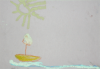 Clarke, Lloyd (born 1996): Sun, Boat and Sea, 2001, oil stick on paper, 22 cms x 30 cms. Presented by Linda Clarke.