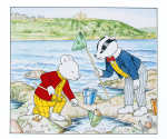 Harrold, John (born 1947): Rupert and the rock pool, signed, watercolour and ink, 13.8 x 15.4cms. Rupert Bear courtesy of Classic Media Distribution Limited.