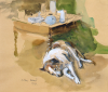 Ward, John CBE RA (1917-2007): Jif - the artist's dog, signed, watercolour and pencil, 23.5 x 28.5 cms.