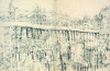 Newton, Kenneth (1933-1984): Study for Railings in the Snow, Guildford, pencil on paper, 28.9 x 42.5 cms. The Richard Harris Gift.
