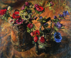 Newton, Kenneth (1933-1984): Anemones, copper kettle & milk pail, 1977, signed, oil on canvas, 68.6 x 83.8 cms. The Richard Harris Gift.