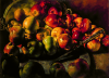 Newton, Kenneth (1933-1984): Reflected apples, with pewter charger and knife, 1979, oil on canvas, 91.5 x 122 cms. The Richard Harris Gift.