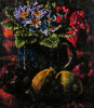 Newton, Kenneth (1933-1984): Blue Primula with Fruit, 1980, oil on canvas, 40.1 x 35.1 cms. The Richard Harris Gift.