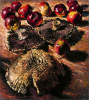 Newton, Kenneth (1933-1984): Mushrooms and Apples, 1980, signed, inscribed signed, oil on canvas, 50.1 x 45.1 cms. The Richard Harris Gift.