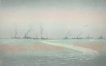 Rowbotham, Claude Hamilton (1864-1949): Pathways of the Sea. Vessels awaiting convoy, Falmouth Bay, signed, coloured etching, 28 x 38 cms.