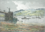 Rowbotham, Claude Hamilton (1864-1949): Submarine Pier, Falmouth, signed, coloured etching, 26 x 32 cms.