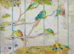 Thomas, Martina (1924-1995): Parrots at Birdworld, signed and dated 1989, oil on canvas, 46 x 61 cms. Presented by Eric James Mellon NDD/Hon Fellow CPA in 2004.