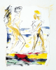 Ousey, Harry (1915-1985): Two women on the beach, signed, watercolour and ink, 10.5 x 9 cms. Presented by Susan and Ronald Astles in 2004.