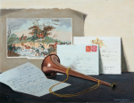 Jameson, Daphne (born 1942): The Hunting Horn, signed, oil, 33.5 x 43.5 cms. Presented by Daphne Jameson in 2004.