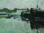 Newton, Kenneth (1933-1984): Cubitt's Yacht Basin, oil on canvas, 76.2 x 101.5 cms. The Richard Harris Gift.