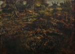 Newton, Kenneth (1933-1984): Study - Nailbourne Spring Stream, Oil on canvas, 56 x 76 cms. The Richard Harris Gift.