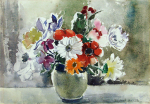 Heath, Isobel (1908-1989): A vase of flowers, signed, watercolour, 28.4 x 39.5 cms. Presented by Diane Saxon in memory of Colin Bramley Parker.
