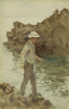 Tuke, Henry Scott, RA RWS (1858-1929): Boy fishing, watercolour, 21.4 x 13.5 cms. Presented by Jill Armitage-Lewingdon in memory of Joan Rhodes (nee Armitage).