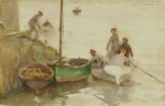 Tuke, Henry Scott, RA RWS (1858-1929): At the quay, signed, watercolour, 14 x 21.5 cms. Presented by Jill Armitage-Lewingdon in memory of Joan Rhodes (nee Armitage).