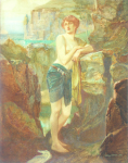 Wilmer, John Riley (1883-1941): Diana of the Romans, signed and dated 1918, inscribed J Riley Wilmer 1918, watercolour, 29.7 x 23.5 cms. Presented in 2005 by Jill Armitage-Lewingdon in memory of Joan Rhodes (nee Armitage).
