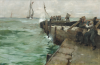 Brangwyn, Sir Frank RA RWS HRSA PRBA ROI RSW HRMS (1867-1956): Constructing South Pier, Mevagissey, signed and dated 1888, oil on canvas, 51 x 76 cms. Heritage Lottery Fund, the National Art Collections Fund, and the MLA/V & A Purchase Grant Fund. © Estate of the artist. All rights reserved 2011 / Bridgeman Art Library.