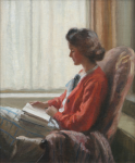 Jameson, Frank (1899-1968): A Quiet read, a portrait of the artist's wife, signed, oil on canvas, 46 x 38 cms. Presented by Kym Hughes in memory of his parents Grace and Thomas HughesI.