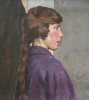 Garnier, Jill (1890-1966): Portrait of a young lady with a plait, oil on canvas, 51 x 46 cms. In memory of Kym Hughes' parents Grace and Thomas Hughes.