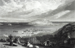 Turner, Joseph Mallord William RA (1775-1851): Falmouth Harbour, Cornwall, engraver: Cooke, W.B, publisher: Murray, John, dated 1816, Line engraving, 24 x 32 cms.