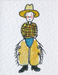 Spooner, Paul (born 1948): The little cowboy, inscribed Chaps 15, watercolour and ink, 5 x 4 cms.