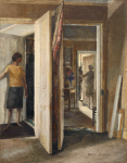 Whicker, Gwendoline J. (1900-1966): Doors, signed, oil on board, 36 x 45 cms. Presented by Mrs Miriam Walters.