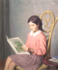 Jameson, Frank (1898-1968): A quiet read - a portrait of the artist's daughter, Daphne, signed, oil on canvas, 61 x 51 cms. Gift of Dr P.G.Budden and Dr M.Hardie Budden on behalf of The Hypatia Trust Collection.
