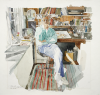 Raynes, John: Self portrait in studio, signed and dated 1986, watercolour, 50.4 x 53 cms.