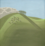 Markey, Peter (1930-2016): Copse with Sheep, emulsion on hardboard, 30 x 30 cms. Presented by Hine Downing, Solicitors.