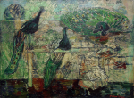 Thomas, Martina (1924-1995): Peacocks at Slindon College, Near Arundel, signed, inscribed signed on reverse, oil on hardboard, 45.8 x 61 cms. Presented by Mellon, Eric James NDD/Hon Fellow CPA.