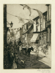 Goolden, Fred W. (fl.1908-1918): The Carnival, Falmouth, signed and dated 1910, etching, 35.5 x 24.5 cms. Presented by Jo Willis in memory of her father, Dr John Deeble.