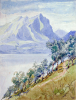 Williams, Marjorie (nee Murray 1880-1961): Mountain lake scene, signed, watercolour & pencil on paper, 28.5 x 39.5 cms. Presented by Dr Mariella Fischer-Williams.