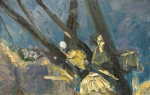 Atkins, Ray (born 1937): Study at Falmouth Docks - Night, oil on board, 45.5 x 71 cms. Presented by the artist in 2008.