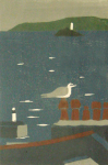 Davies, Peter: New Year Gull, signed and dated 2007, linocut, 24 x 18 cms. Presented by the artist.