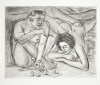 Mistry, Dhruva RA (born 1957): The Couple, printer: Stoneman, Hugh (1947-2005), signed, etching (number 19 of an edition of 50), 49 x 58.5 cms. The Art Fund Hugh Stoneman Archive.