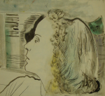 Agar, Eileen (1899-1991): A portrait - possibly Lee Miller, signed, watercolour and ink, 23 x 25.5 cms.