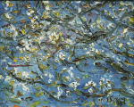 Strang, Michael J. (born 1942): Cherry blossom with bees, signed and dated 1991, oil on hardboard, 41 x 51 cms. Purchased with funding from the Heritage Lottery Fund as part of the Darwin 200 celebrations.