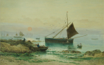 Carter, Richard Harry (Henry) (1839-1911): Fishing boats under a harvest moon, signed, watercolour, 33 x 49 cms.