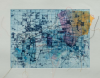 Gardner, Grace (born 1920): Blue Grid, signed and dated 1986, etching with chine colle and threads, 42.5 x 49 cms. The Grace Gardner Gift.