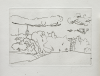 Flanagan, Barry RA (1941-2009): Landscape with church, signed and dated 1976, etching (19 of an edition of 100), 28 x 38.5 cms. Given by Mrs Naomi G. Weaver through the Art Fund.