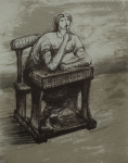 Moore, Henry OM CH (1898-1986): Girl at desk, 1974, signed, lithograph (41 of an edition of 50), 28 x 23 cms. Given by Mrs Naomi G. Weaver through the Art Fund. Reproduced by permission of the Henry Moore Foundation.