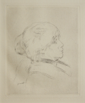 Renoir, Pierre-Auguste (1841-1919): Berthe Morisot (1841-1895), 1892, etching, 26.5 x 32 cms. Given by Mrs Naomi G. Weaver through the Art Fund.