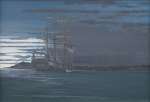 Bickford, Michael (born 1939): Home waters - His Majesty's survey ship Beagle anchored in Falmouth Harbour, dawn 3 October 1836, signed, oil on canvas, 54 x 77 cms. Painted and presented by the artist in 2009 as part of the Darwin 200 celebrations.