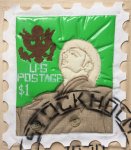 Foster, Tony (born 1946): Hero Stamps - Claes Oldenburg 2, signed and dated 1978, stuffed textile and spray paint (2 of an edition of 12), 42 x 33 cms.