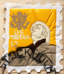 Foster, Tony (born 1946): Hero Stamps - Claes Oldenburg 3, signed and dated 1978, stuffed textile and spray paint (2 of an edition of 12), 42 x 33 cms.