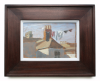 Markey, Danny (born 1965): Roofs and vapour trail, signed and dated 1984, oil on board, 17 x 25 cms. Bequeathed by Mr Michael Nicholson. Bequest.