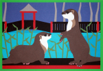 Lee, Sara C. (born 1956): Asian short-clawed otters at Newquay Zoo, signed, cut paper, 21 x 29.5 cms. Purchased with funding from the Heritage Lottery Fund as part of the Darwin 200 celebrations.