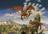 Woodroffe, Patrick (1940-2014): Mountain Dragons of British Columbia, signed and dated 1977 & 2009, oil on hardboard, 30.5 x 16.5 cms. Purchased from the artist with commissioned framework as part of New Expressions, funded by MLA South West, supported by the National Lottery through Arts Council England.
