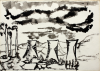 Early, Tom (1914-1967): Cooling towers and chimneys, 1948, ink and wash on paper, 25.5 x 35.5 cms. Presented by the artist's widow, Mrs Eunice Campbell.